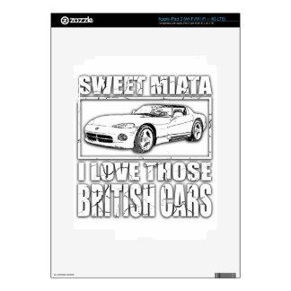 Chiste británico del coche de la víbora de Miata Pegatina Skin Para iPad 3