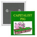 chiste capitalista del dinero del cerdo pins