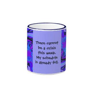 chiste completo del trabajo del horario taza a dos colores