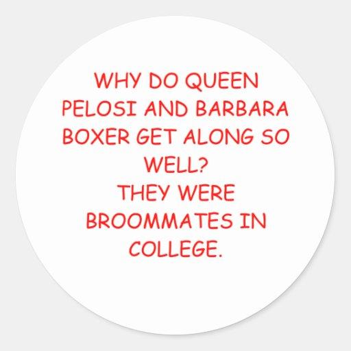 chiste de Barbara Boxer del pelosi de Nancy Pegatina Redonda