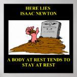 chiste de Isaac Newton Póster