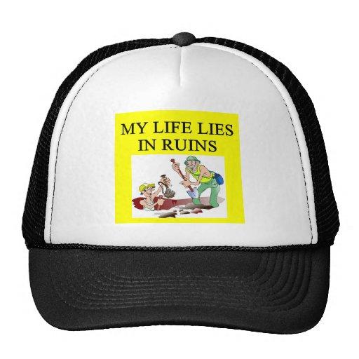 Chiste de la arqueología gorras de camionero