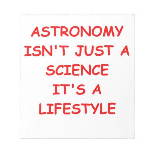 chiste de la astronomía bloc de papel