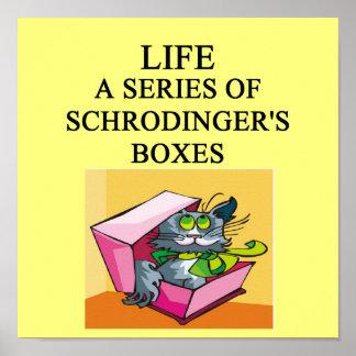 chiste de la caja del gato de los schrodinger póster