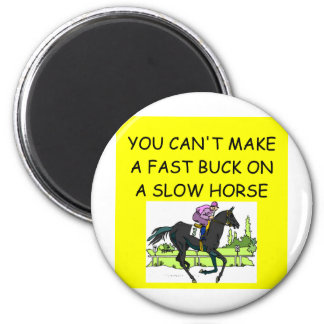 Chiste de la carrera de caballos imán redondo 5 cm
