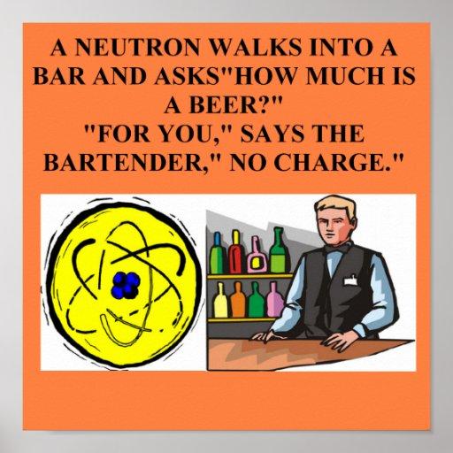 chiste de la física del neutrón póster