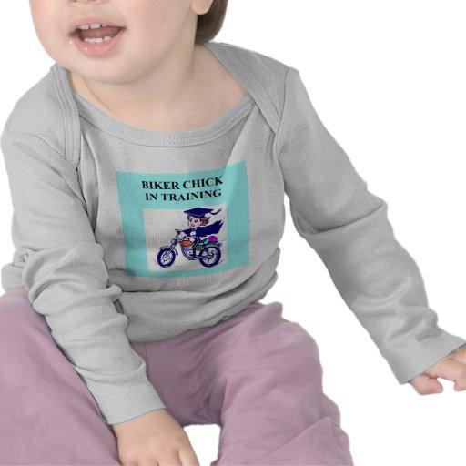 chiste de la hija del polluelo del motorista camisetas