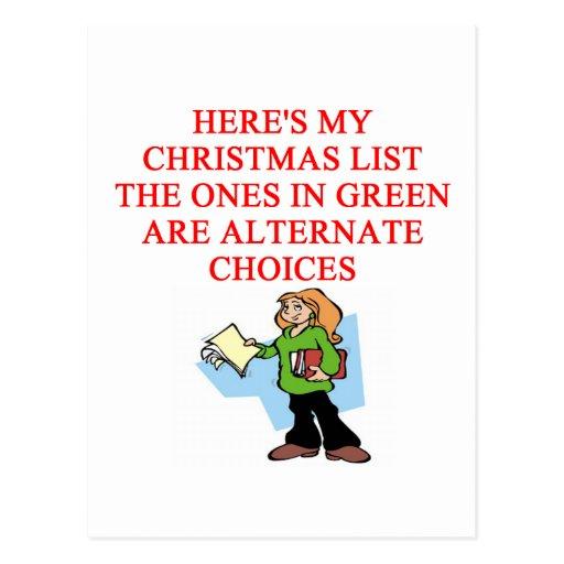 chiste de la lista del navidad postal