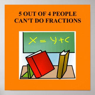 chiste de la matemáticas de la fracción póster