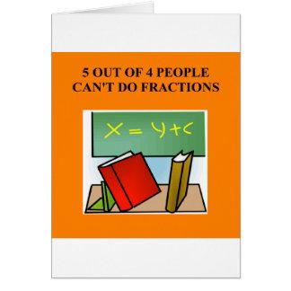 chiste de la matemáticas de la fracción tarjetas