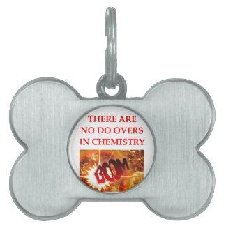 chiste de la química placa de nombre de mascota