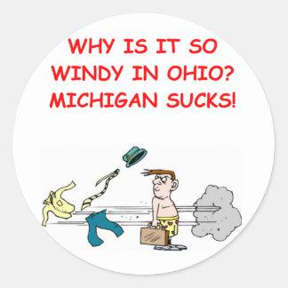 chiste de Ohio Michigan Pegatina Redonda