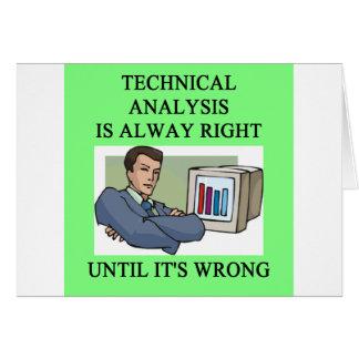 chiste del análisis técnico tarjeta de felicitación