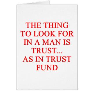Chiste del buscador de oro de la fondo fiduciaria tarjetas