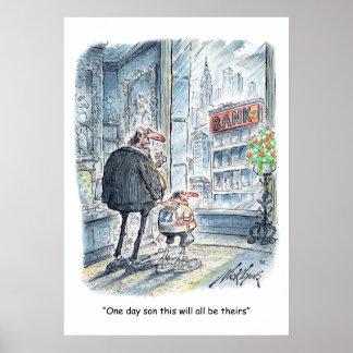 Chiste del dibujo animado del negocio póster