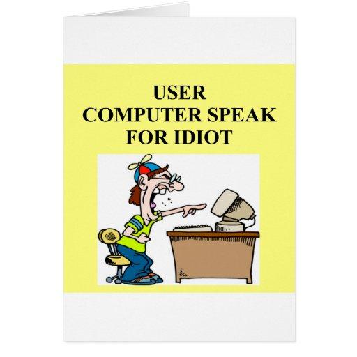 chiste del friki del ordenador tarjeta de felicitación