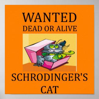 chiste del gato de los schrodinger póster