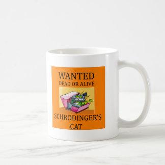 chiste del gato de los schrodinger taza básica blanca
