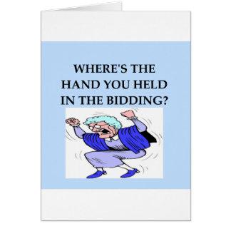 chiste del jugador de puente tarjeta de felicitación
