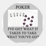 chiste del jugador del juego de póker pegatinas redondas