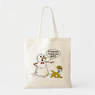 Chiste del muñeco de nieve bolsas lienzo