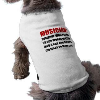 Chiste del músico playera sin mangas para perro