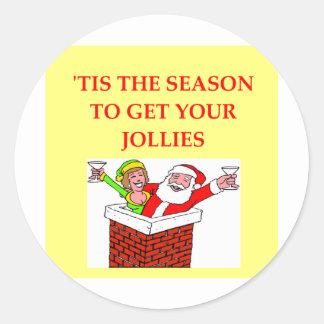 chiste del navidad de Papá Noel Pegatina