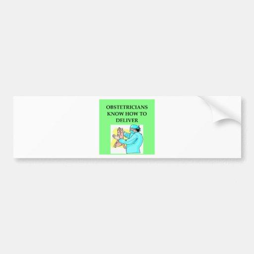 chiste del obstétrico etiqueta de parachoque