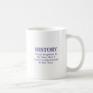 Chiste del profesor de la historia. Explique para Taza Básica Blanca