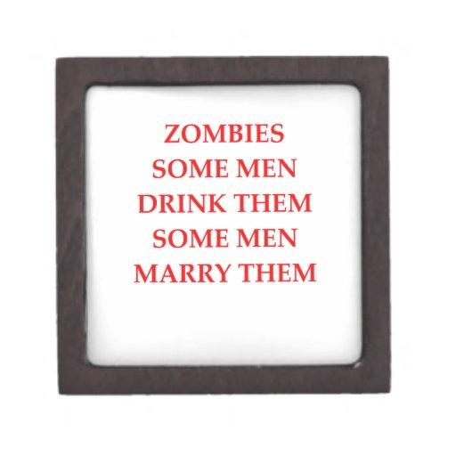 chiste del zombi caja de recuerdo de calidad