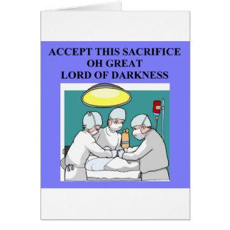 chiste demoníaco del doctor/del cirujano tarjeta de felicitación