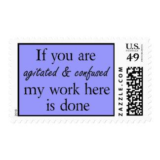 Chiste divertido azul del humor de la oficina de sello postal