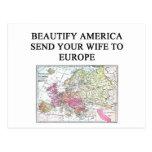 chiste divertido de la esposa tarjeta postal