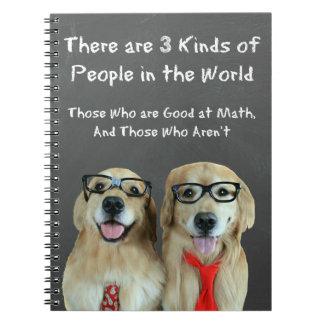 Chiste divertido de la matemáticas del golden retr cuaderno
