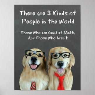 Chiste divertido de la matemáticas del golden retr posters