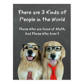 Chiste divertido de la matemáticas del golden retr postal