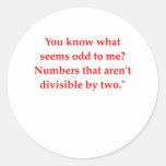 chiste divertido de la matemáticas etiqueta redonda