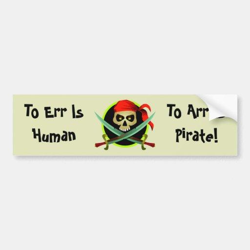 Chiste divertido del pirata del KRW Pegatina De Parachoque