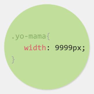chiste geeky del humor de la Yo-mamá CSS Pegatina Redonda