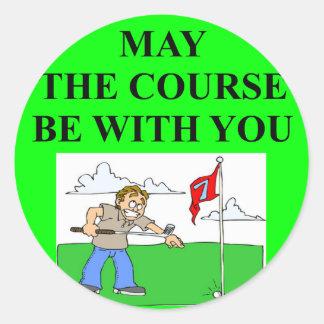 chiste golfing del golfista pegatina redonda