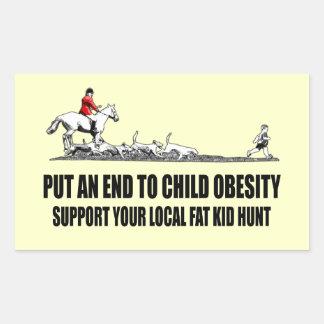 Chiste gordo ofensivo del niño pegatina rectangular