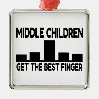 Chiste medio del dedo medio del niño de cinco adorno cuadrado plateado