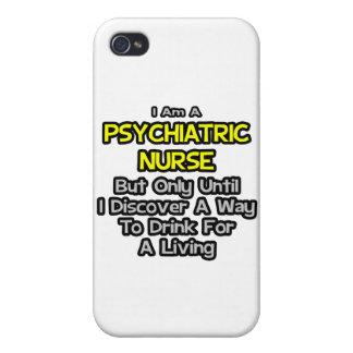 Chiste psiquiátrico de la enfermera. Bebida para u iPhone 4 Carcasas
