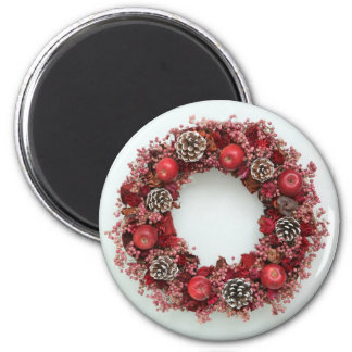 Chistmas wreath Pink Red Magnet