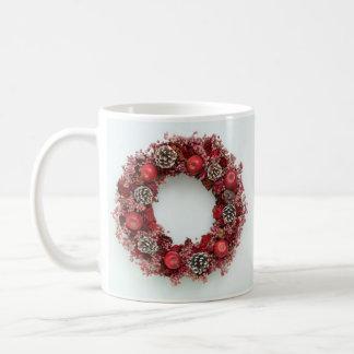 Chistmas wreath Pink &Red Mug
