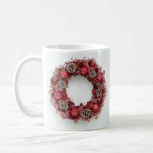 Chistmas wreath Pink &Red Mug Taza Básica Blanca