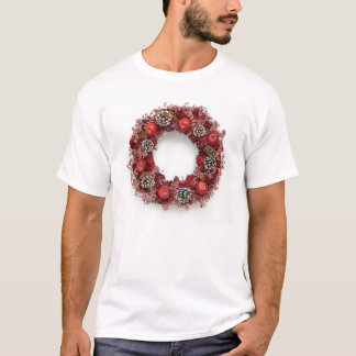 Chistmas wreath Pink &Red Tshirt