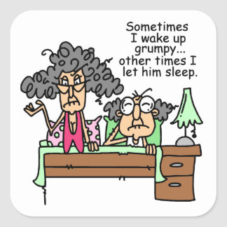 Chistoso deje el sueño gruñón pegatina cuadrada