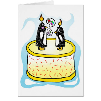 Chit and Chat Birthday Cake Penguins Card