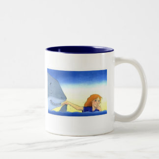 """Chivalrous Shark"" by Suzi German Two-Tone Coffee Mug"